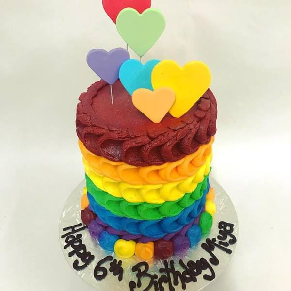 Rainbow Petal Cake with Hearts on wire