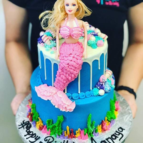 Two Tier Ariel Mermaid Cake