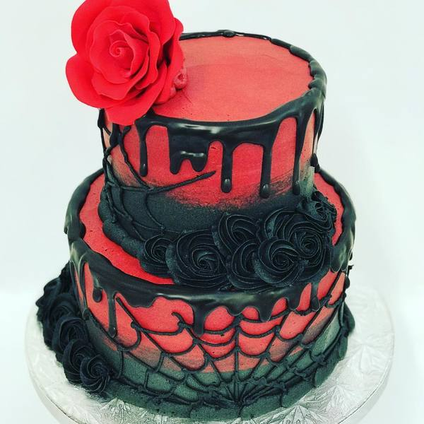Two Tier Red and Black with Spider Web