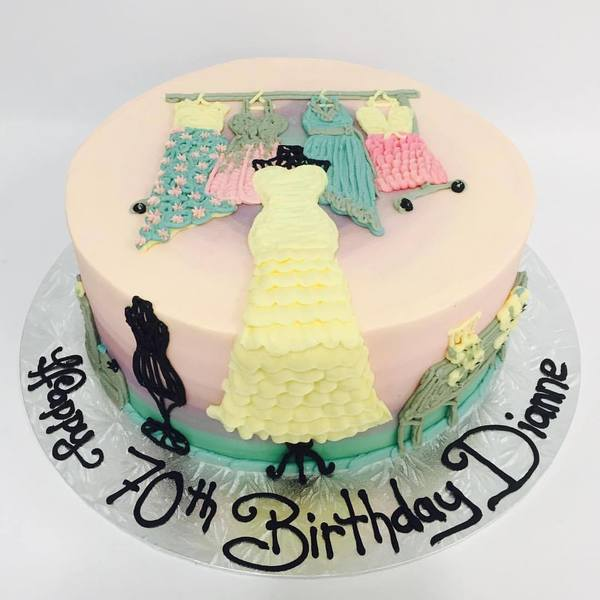 Blue to Pink Ombre Shopaholic Cake