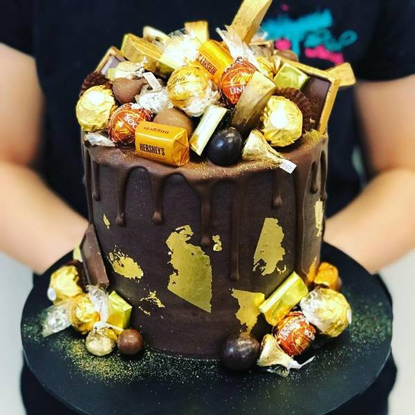 Smooth Chocolate Overload with Gold Leaf and Drip