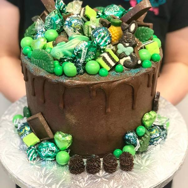 Smooth Chocolate with Chocolate Drip and Green Overload Toppings