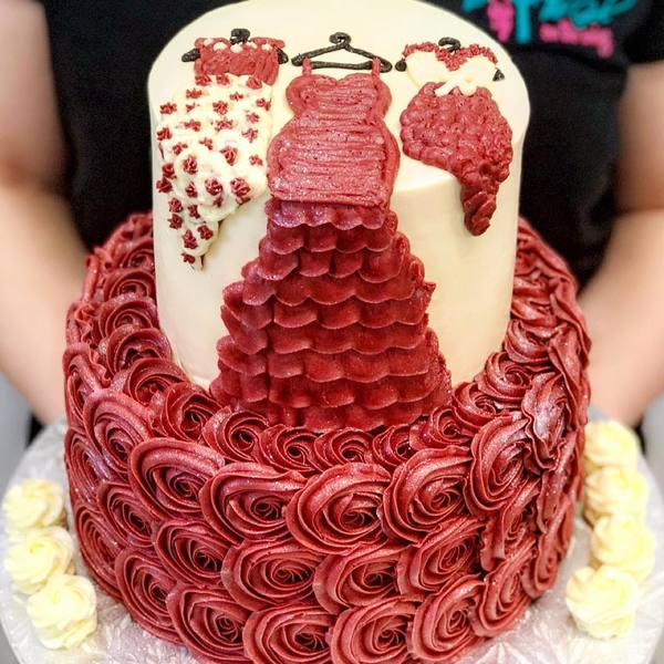 Two Tier Red Rose Dress Cake