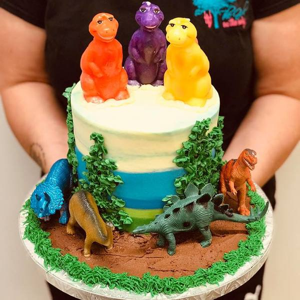 Dinosaur Theme Cake with Toppers