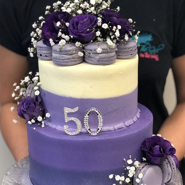 Two Tier Ombre Purple With Macarons and Fresh Flowers