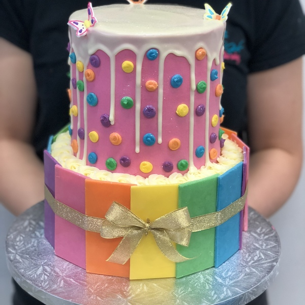 Two Tier Rainbow Panel And Smooth Pink Polka Dot with White Chocolate Drip