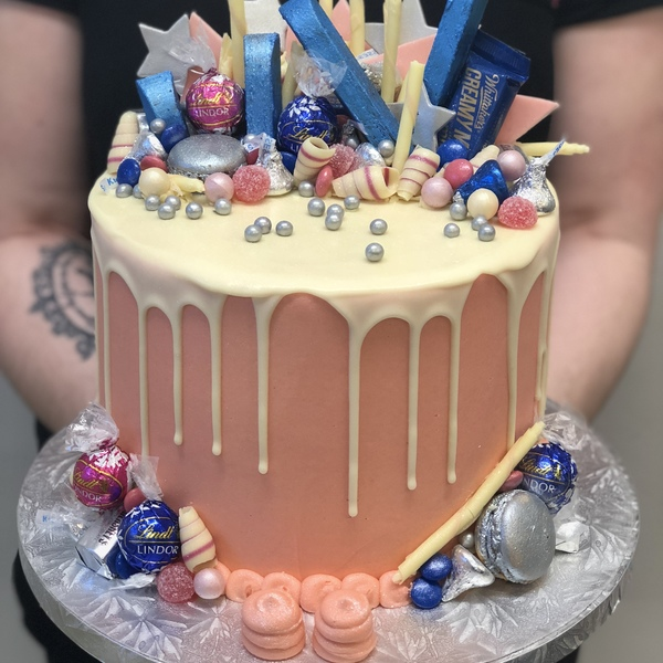 Pink, Blue and Silver Overload with White Chocolate Drip