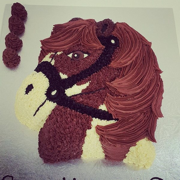 Horse Head Brown and Cream Cake