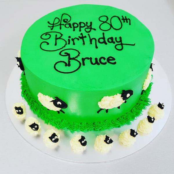 Smooth Green Cake with Sheep