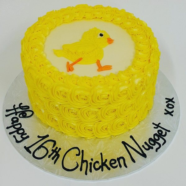 Yellow Rose cake with Little Chick