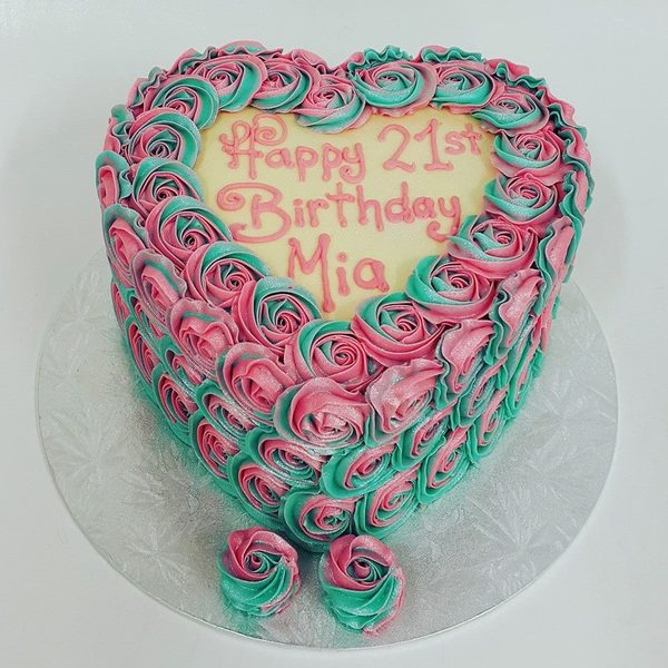 Heart Shaped Two Tone Teal and Pink Rose Cake