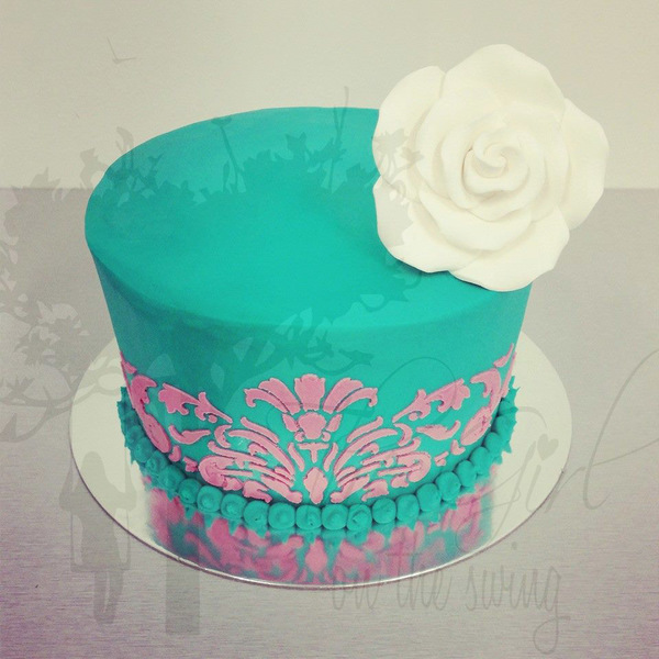 Smooth Teal with Pink Stencil Cake
