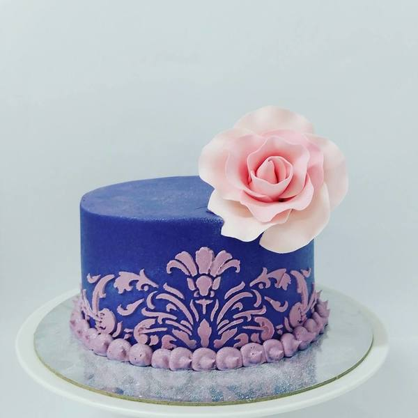 Smooth Purple with Pink Stencil Cake