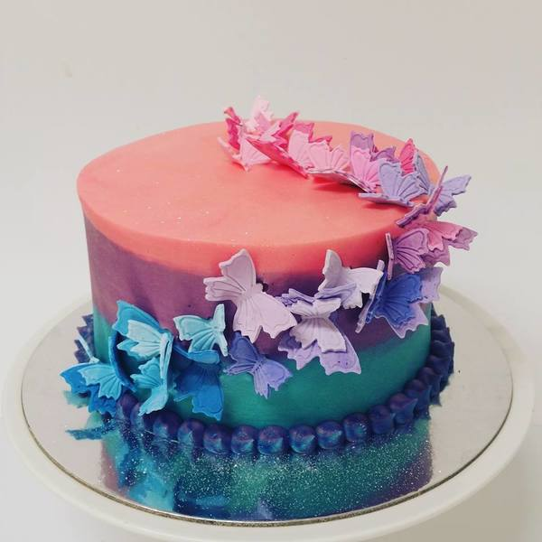 Smooth Three Colour Cake with Butterfly Scatter