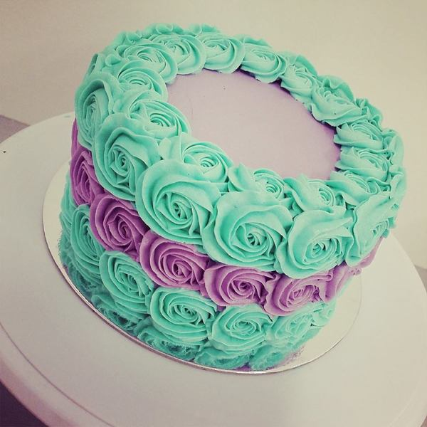 Teal and Purple Roses Cake