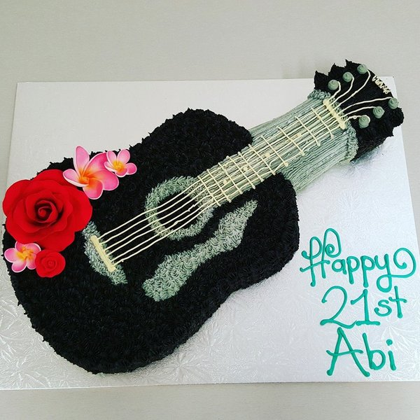 Black Guitar with Gumpaste Flowers
