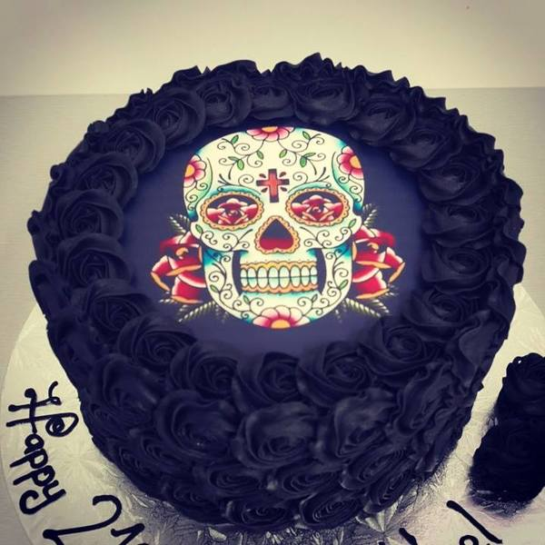 Black Roses with Sugar Skull Edible Image Cake