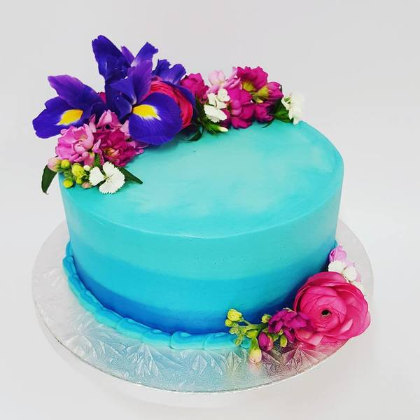 Blue Ombre Cake with Fresh Flowers