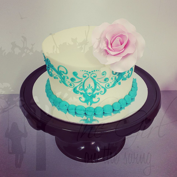 Cream and Blue Stencil Cake