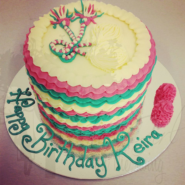 Teal and Pink Frill cake with Poi