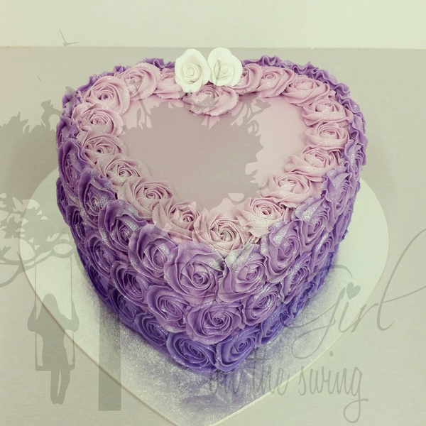 Purple Ombre Heart Cake