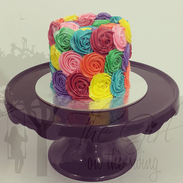 Scattered Rainbow Roses Cake