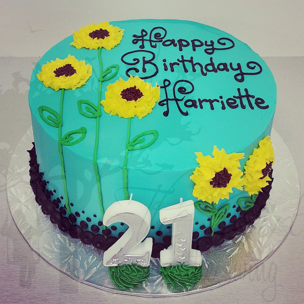 Smooth Blue Sunflower Cake