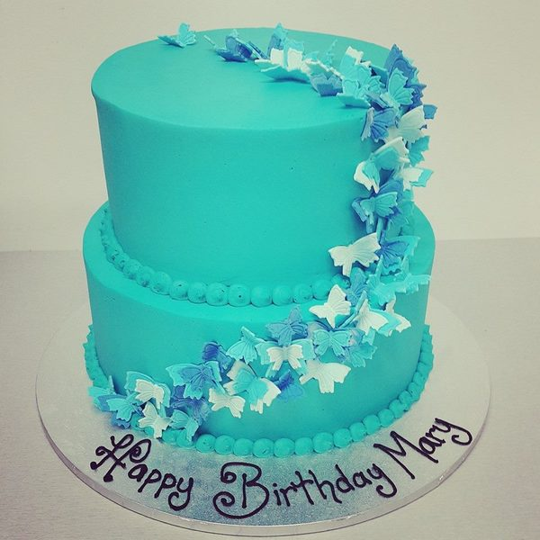 Smooth Blue Two Tier with Butterfly Trail