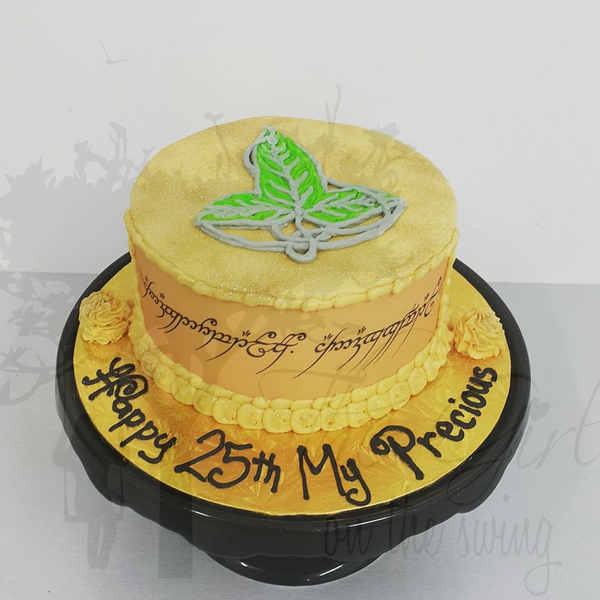 Smooth Gold Cake with LOTR Ring Inscription