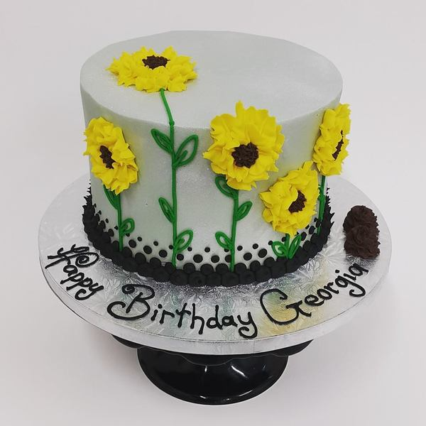 Smooth Silver Sunflower Cake