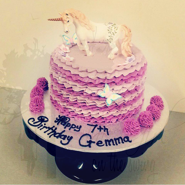 Two Colour Frill Cake with Unicorn Topper