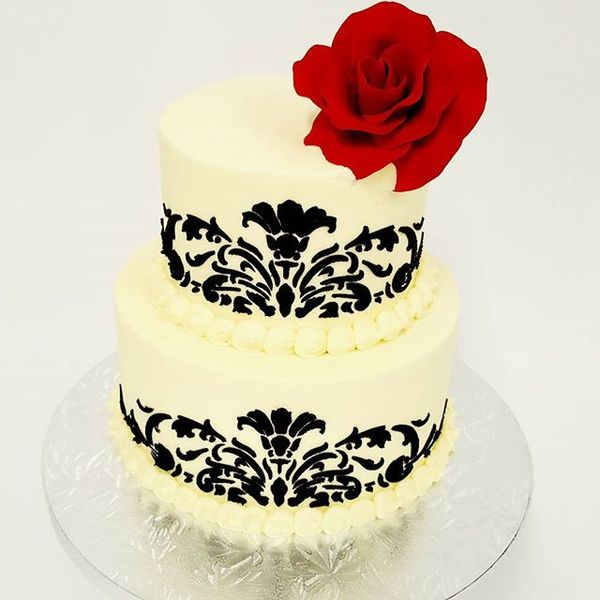 Two Tier Cream with Black Stencil Cake