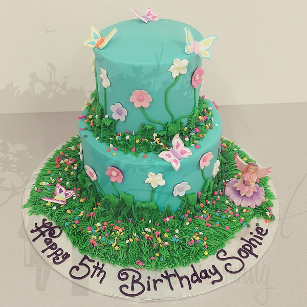Two Tier Fairy Garden Cake
