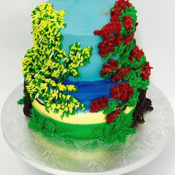 Two Tier Kowhai and Pohutakawa Cake