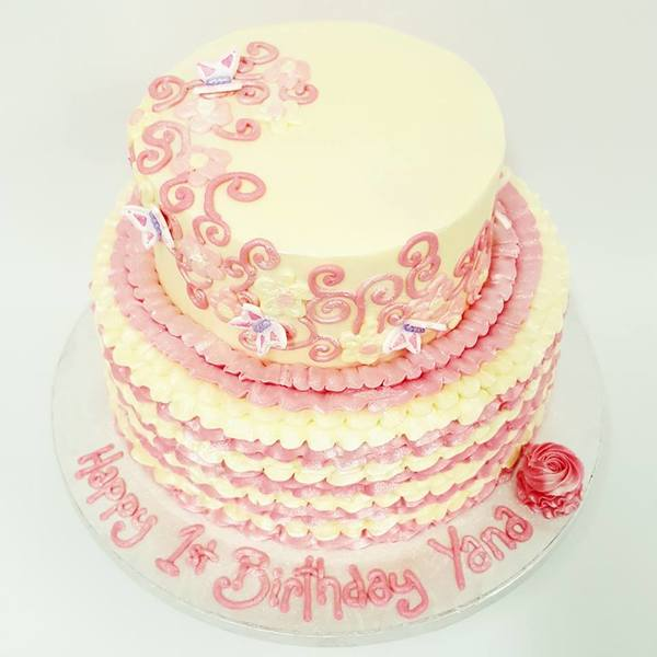 Two Tier Pink and Cream Frills with Pink Swirls