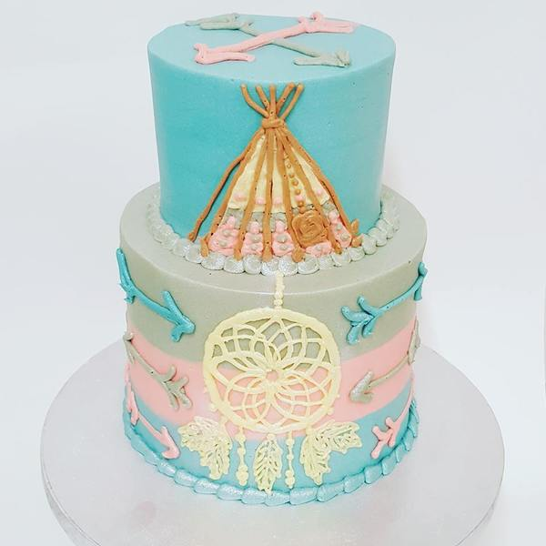 Two Tier Three Colour Teepee Cake with piped Dream Catcher