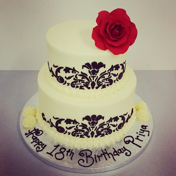 Two Tier Smooth Cream Cake with Black Stencil