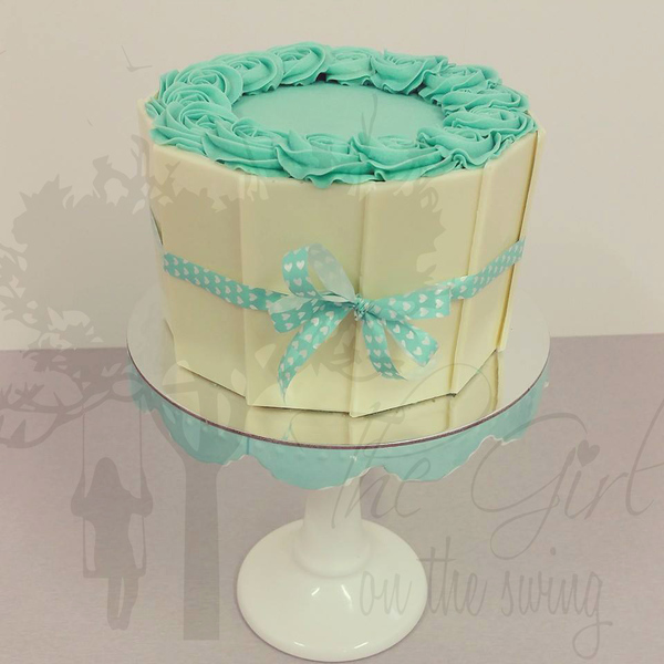 White Chocolate Panel cake with Teal Roses
