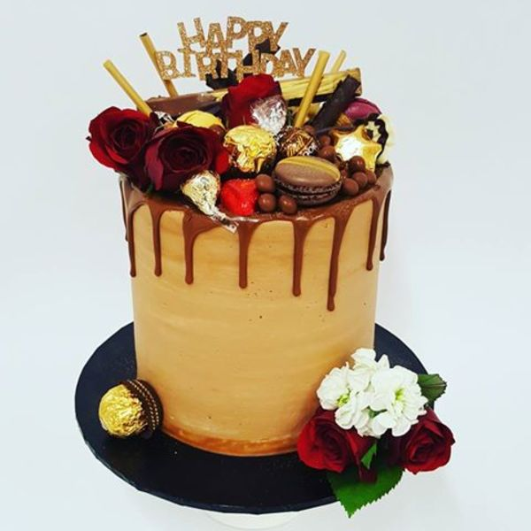 Chocolate Drip with Red Roses and Toppings