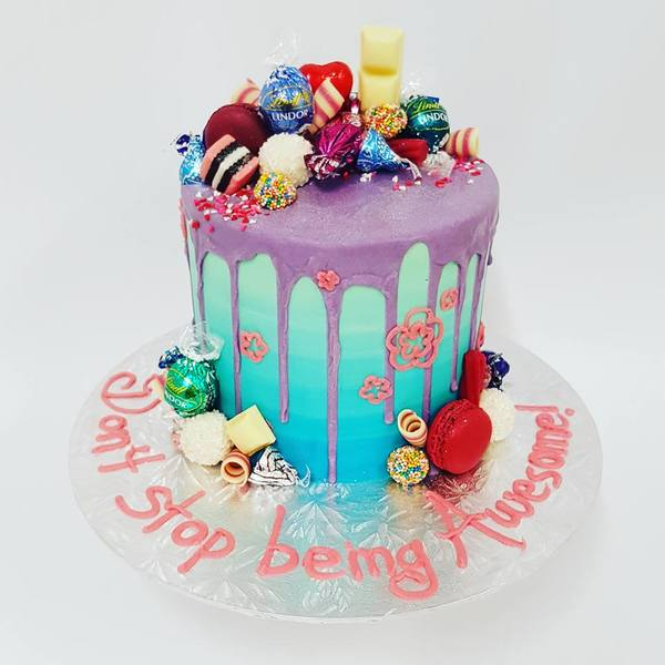 Smooth Blue Ombre Cake with Purple Drip and Toppings