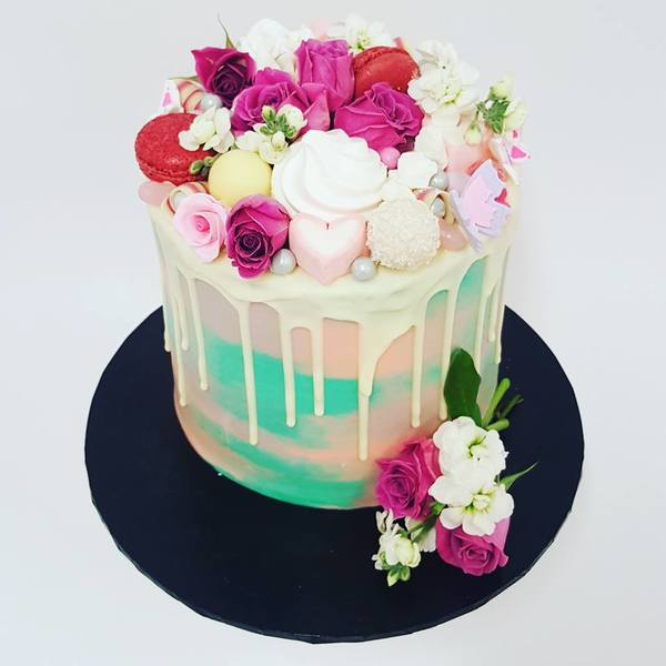 Smooth Teal and Pink Marble with White Chocolate Drip and Toppings