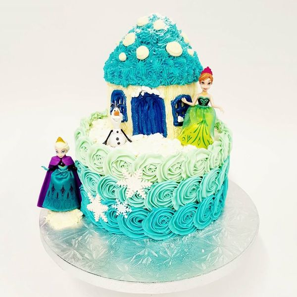 Blue Ombre Roses with Toadstool House and Frozen Figurines
