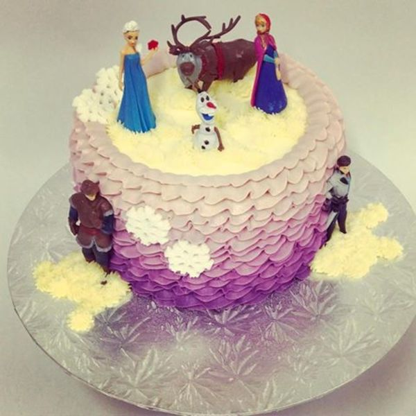 purple Ombre Frills with Frozen Figures