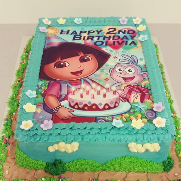 Dora Rectangle Edible Image cake