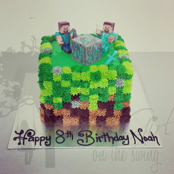 Minecraft cake (with customer supplied figurines)