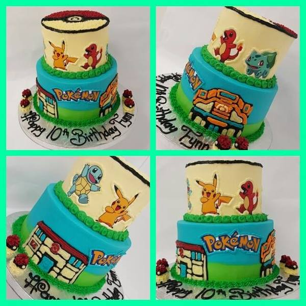 Pokemon Two Tier Edible Image Cake