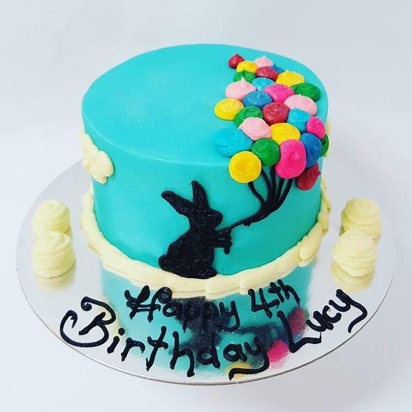 Smooth Blue Bunny Balloon Cake