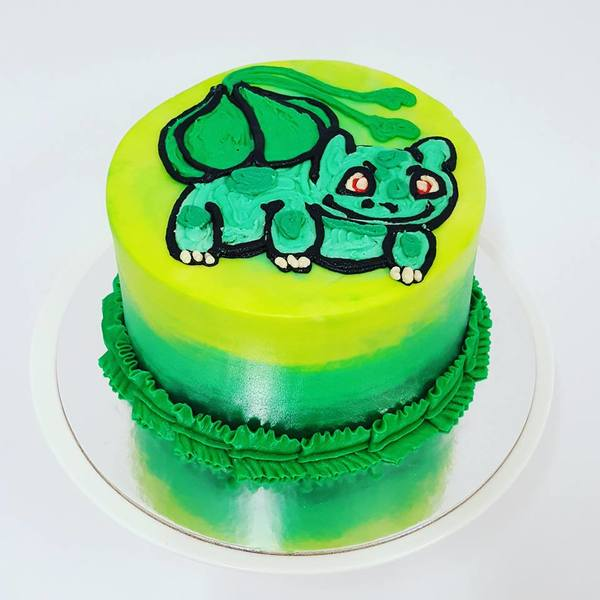 Smooth Three Colour Cake with Piped Bulbasaur