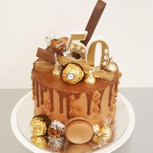 Gold Overload Cake with Candles