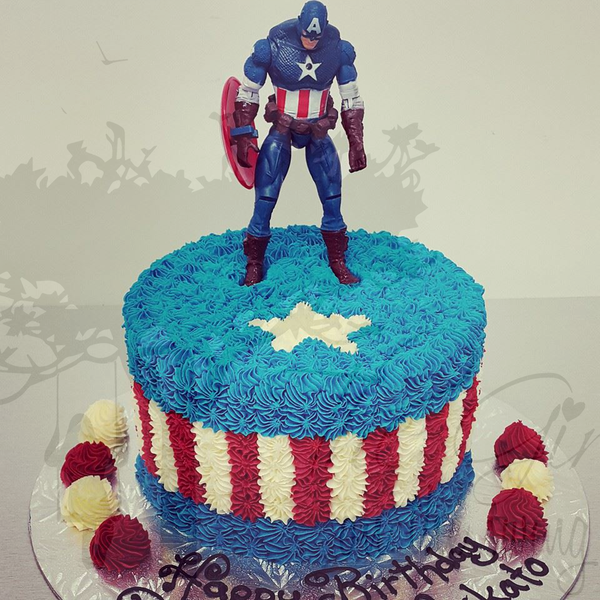 Captain America Cake with Figurine